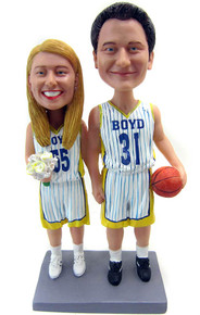 Custom basketball couple bobbleheads