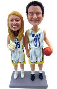 Custom basketball couple bobbleheads