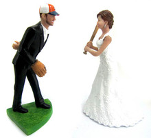 Custom baseball pitching groom wedding cake topper