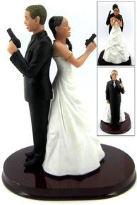 Mr. and Mrs. Smith Armed Wedding Cake Toppers