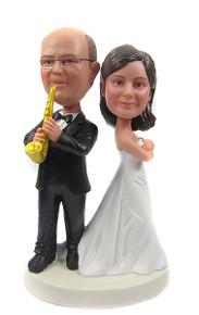 Saxophone Groom Wedding Cake Toppers