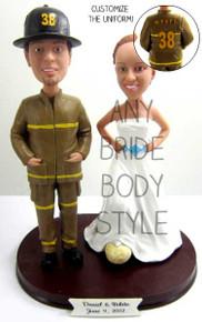 Firefighter Groom w/ Interchangeable Bride Style