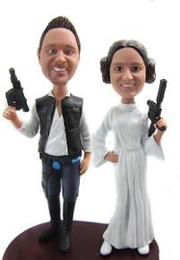 Star Wars Han Solo Princess Leia Custom Wedding Cake Toppers