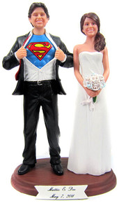 Clark Kent style groom wedding cake topper