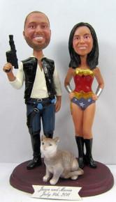 Wonder Woman Bride w/Interchangeable Groom Cake Topper