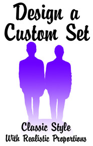 Set of Interchangeable Same Sex Classic Grooms Wedding Cake Toppers