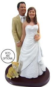 Plus Size Bride Stocky Groom Wedding Cake Topper Style 5