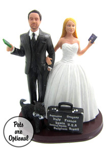 World Traveler Couple Custom Wedding Cake Topper