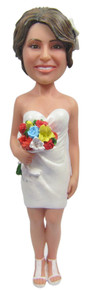 Real Peeps Cake Topper Female #7 - Strapless Dress and Bouquet