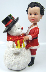 Child Bobble Head Figure with Large Snowman