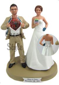 Baking Bride with Interchangeable Groom Custom Wedding Cake Topper