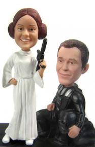 Darth Vader and Princess Leia Custom Wedding Cake Topper