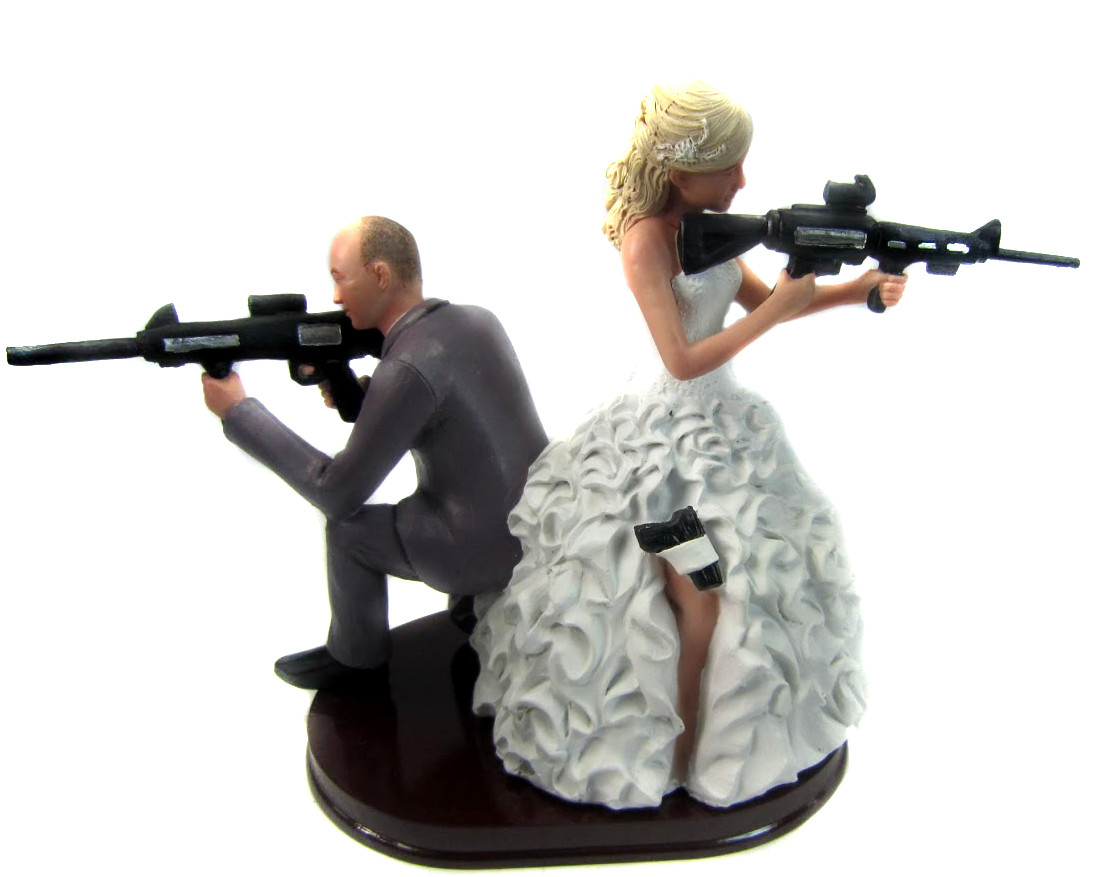 Custom Armed Couple Cake Topper