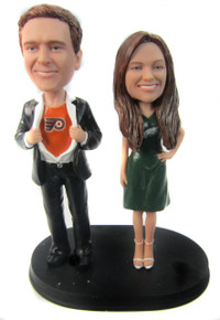Superman Sports Groom and Sporty Bride Wedding Cake Topper