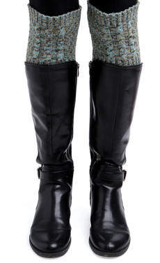 Space Dye Cable Boot Cuffs (Soft Teal)