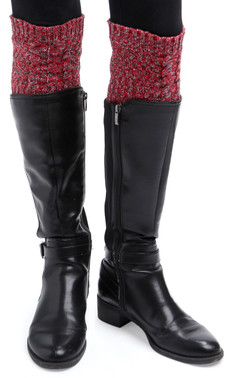 Space Dye Cable Boot Cuffs (Red)