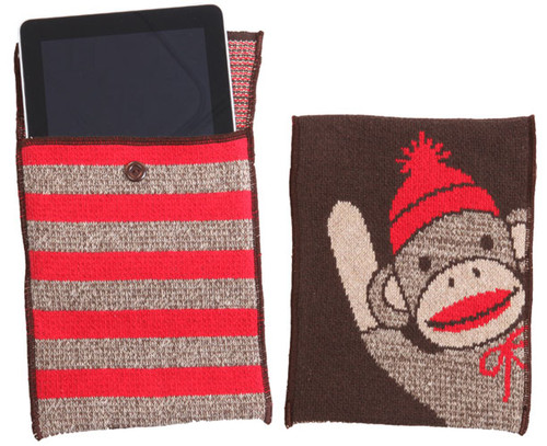 Sock Monkey Stripe iPad Bag