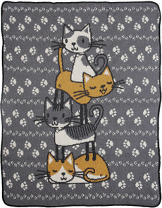 Stacked Kitties Jr. Throw (Grey)