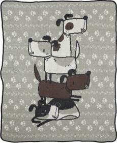 Stacked Dogs Jr. Throw (Brown/Grey)