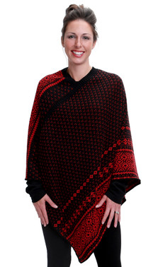 Nordic Stripe Poncho (Black/Red)