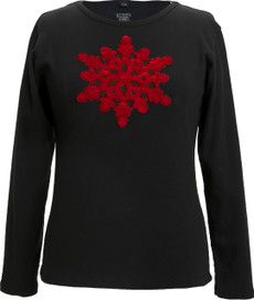 Appliqué Velvet Snowflake (Black/Red)