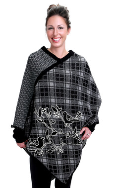 Plaid Bird Poncho