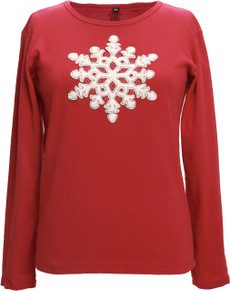 Appliqué Velvet Snowflake (Red/White)