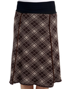 Plaid 4-panel Skirt (Coffee/Taupe)