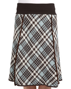 Vintage Plaid 4-panel Skirt (Soft Teal)