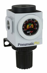 "PneumaticPlus PPR4-N04BG Air Pressure Regulator 1/2"" NPT with Embedded Gauge & Bracket"