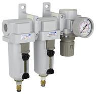 "SAU430 Series Three Stage Air Drying System Filter, Mist Separator, Regulator 1/2"" NPT with Bracket & Gauge (SAU430-N04DG-MEP)"