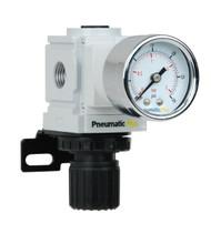 "PneumaticPlus PPR2-N2BG-2 Air Pressure Regulator 1/4"" NPT (3-30 PSI) with Gauge & Bracket"