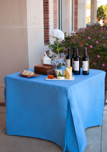 blue fitted table cover outdoors