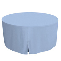 60-Inch Fitted Round Table Cover - Blue Chambray