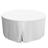 60-Inch Fitted Round Table Cover - White