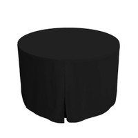48-Inch Fitted Round Table Cover - Black