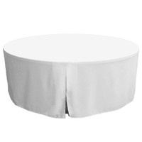 72-Inch Fitted Round Table Cover - White