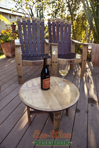 Handcrafted from French Oak wine barrel staves this twin chair is perfect for relaxing and entertainment. Stainless Steel Screw Construction. Table sold separately.  Wine not included.