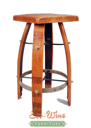 "The Gavino Stool has a unique, sturdy design including arched legs, a flat seating surface of inlaid French Oak, and a footrest made with galvanized steel barrel rings. 27.5""H x 13.5""W x 13.5""D"