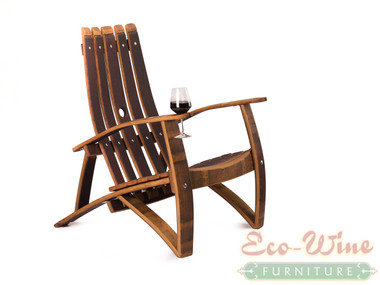 Wide and solid this five Stave back Adirondack-style chair is made entirely from thick wine barrel oak staves. High contoured back and concave seat area, as well as curving armrests, adds to the comfort.