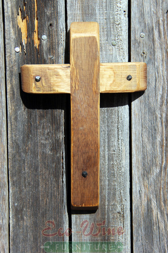 By creatively combining wine barrel staves, we make each cross into a distinctive statement of faith. (Small