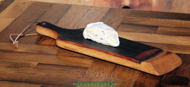 Our Cheese Platter has a large flat surface and long handle. It includes leather cord for easy hanging. This is a great platter for displaying your favorite cheese and crackers.