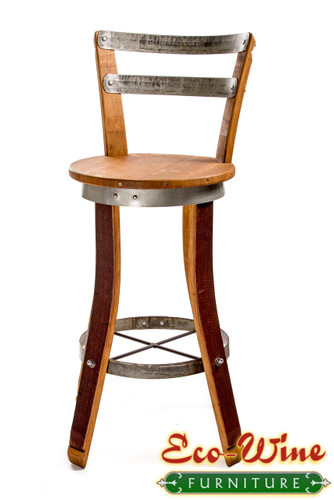This Wine Barrel Swivel Chair handcrafted with a contoured back and seat. Lower foot rungs add to the comfort of this sturdy oak chair. Use as a barstool or as part of a bistro set for kitchen or patio. Stave legs out.