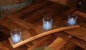 This small crescent oak stave candleholder holds three candles. Candles not included.