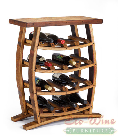 A Wine Rack with Table Top, this stand up wine rack features storage for 16 wine bottles on four shelves. What an impressive display for your favorite wines. (Wine not included.)