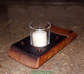 A Wine Barrel Stave Single Candle Holder, a novel gift idea. Candle not included.