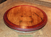 WINE BARREL LAZY SUSAN WITH RED RIM and  BOTTOM METAL RING, SM