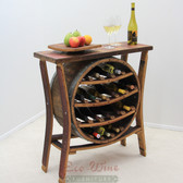 This magnificent furniture piece features a table top with 16-bottle wine rack in the center. This would be a beautiful addition to your home or wine tasting room.