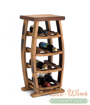 This stand-up wine rack features storage for 8 wine bottles on four shelves. With this wine rack you get an impressive display for your favorite wines. Here is a great wine rack for those who want a small yet eye-catching piece of wine furniture.