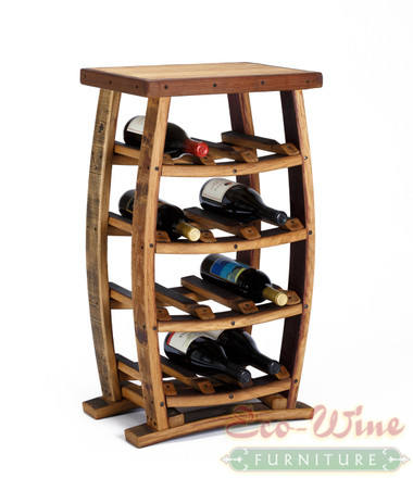 This stand-up wine rack features storage for 12 wine bottles on four shelves. With this wine rack you get an impressive display for your favorite wines. Here is a great wine rack for those who want a small yet eye-catching piece of wine furniture
